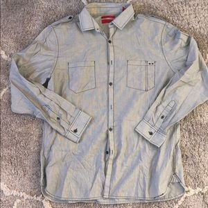Grey fitted button down long sleeve